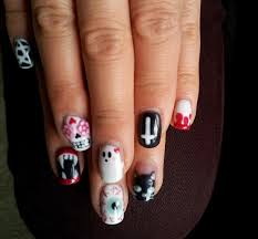 lookitsmay halloween goth scary gel nail art