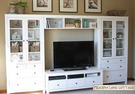 Home Center Decor Accessorized White Entertainment Center Hemnes Tv Stands And