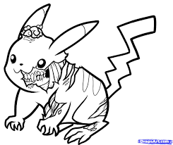how to draw zombie pikachu zombie pikachu drawing and coloring