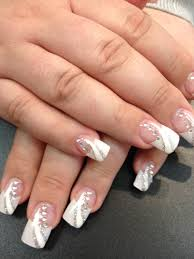 solar nails french tips with white and silver design nails