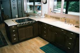 kitchen stainless steel countertops black cabinets deck outdoor