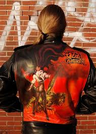Airbrush painting on leather jacket - Ozzy Osbourne