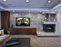 Living Room  Basement Family Room Remodel Ideas With Exposed - Family room wall units