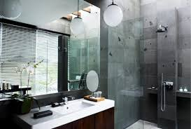 small bathroom design ideas large dark stone tile flooring long