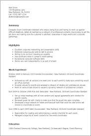 Resume Templates  Event Coordinator Assistant My Perfect Resume