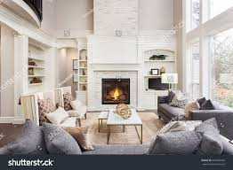 beautiful living room interior hardwood floors stock photo