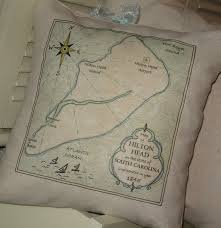 Nautical Home Accessories Hilton Head Vintage Map Pillow Blue Pillows Nautical South