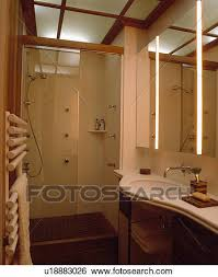 stock images of glass shower door and lighted ceiling panels in