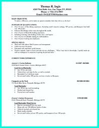 Example Server Resume by 100 Resume Sample Server Free Resume Templates Blank