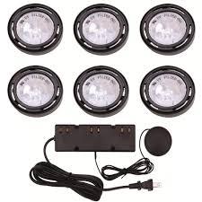 hampton bay 6 light xenon black under cabinet puck light kit