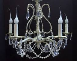 White Shabby Chic Chandelier by Vintage Chandelier Lighting Etsy