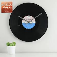 personalised vinyl record wall clock by mixpixie