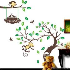 pop cute playing monkey forest tree wall stickers cartoon monkey forest wall stickers cute tree cartoon decals kids children bedroom fashion decor good quality hot selling home decorations