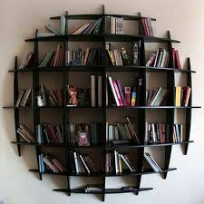 appealing round wall mounted bookshelves in artistic design home