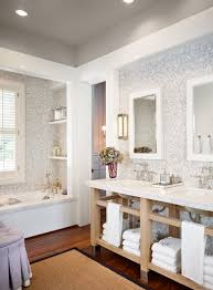 Mosaic Tile Backsplash Bathroom by White And Gary Mosaic Tiles Contemporary Bathroom