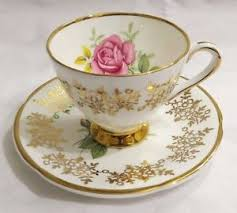clare bone china made in england tea cup and saucer gold trim pink