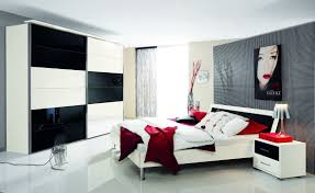 black and white and red bedroom