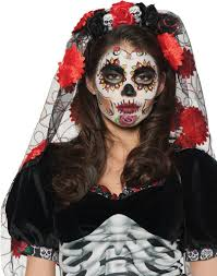 day of the dead mantia sugar skull rose headband with veil