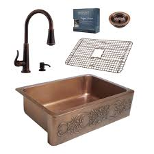 Home Depot Sink Faucets Kitchen Sinkology Pfister All In One Ganku Copper Farmhouse 33 In Kitchen