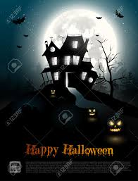 halloween poster with scary house in the woods royalty free
