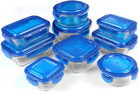 amazon com glass food storage container set blue 18 pieces