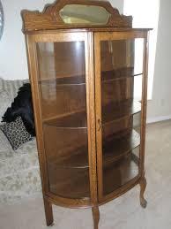Oak Curio Cabinet Antique Larkin Co Oak China Cabinet Curved Glass Backsplash W