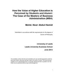 How the value of higher education is perceived by students and
