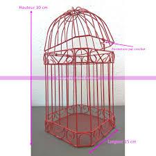 oiseaux en metal urne de mariage cage à oiseaux volière en métal rouge 30 x 15 cm
