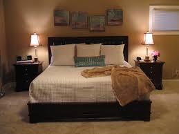 small apartment bedroom design brown laminated bed frame bedside