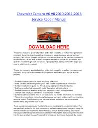 chevrolet camaro v6 v8 2010 2011 2013 service repair manual by