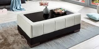 Wohnzimmertisch Modern Couchtisch Glastisch Weiß Schwarz Kunstleder Beverly Tisch Modern