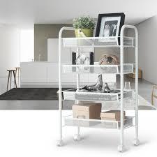 Kitchen Trolley Designs by 4 Tier Metal Rolling Kitchen Trolley Cart Island Wire Rack Shelf