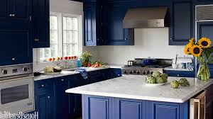 Blue Backsplash Kitchen Kitchen Color Ideas With Cherry Cabinets White Island Stainless