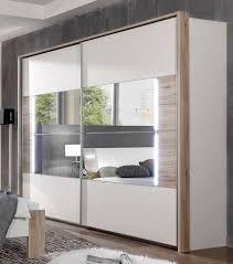 Sliding Door Wardrobe Designs For Bedroom Indian German Downtown White U0026 Oak 270cm Sliding Door Mirrored Wardrobe