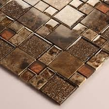 Mosaic Tile Backsplash Bathroom by Stone And Glass Mosaic Sheets Square Tiles Emperador Dark Marble