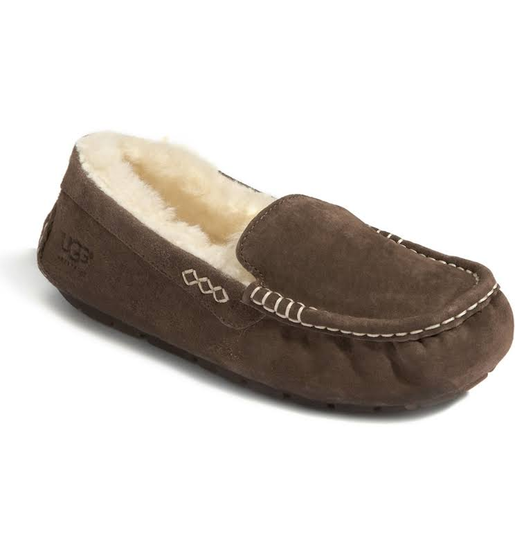 UGG Australia Ansley Moccasin Chocolate Brown Slippers 3312-CHO