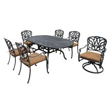 Wholesale Patio Dining Sets by Hanover Manor 7 Piece Round Cast Top Patio Dining Set With Two