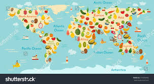 Pictures Of World Map by Fruit World Map Vegetables Vector Illustration Stock Vector