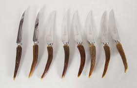 set of eight horn handled knives by lewis rose and co sheffield