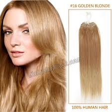 Human Hair Glue In Extensions by Inch 16 Golden Blonde Micro Loop Human Hair Extensions 100s