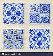 four different blue colored moroccan style tiles stock photo