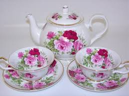 summertime rose tea set bone china made in england by sheltonian