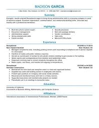 Best Executive Resume Format by Wonderful Ideas Receptionist Resume Templates 13 Receptionist