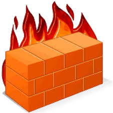 a brick wall on fire, to signify a firewall