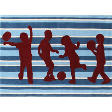 Funky Rugs Funky Striped Blue And Burgundy Kids Floor Rugs Free Shipping