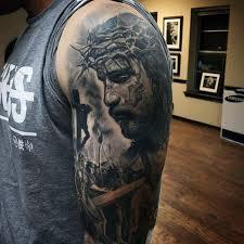 Tattoo Designs Half Sleeve Ideas 50 Jesus Sleeve Tattoo Designs For Men Religious Ink Ideas