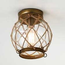 Nautical Lighting Pendants Jute Lattice Aged Brass Finish Hardware Clear Glass Globe