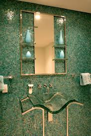 Green Tile Backsplash by Wall Mounted Soap Dispenser In Bathroom Contemporary With Green