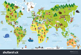 Pictures Of World Map by Funny Cartoon World Map Children Different Stock Vector 593619971