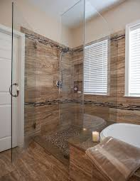luxury wood tile bathroom shower in home remodel ideas with wood